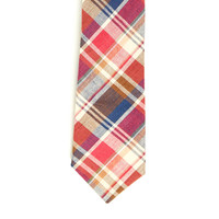 Red & Blue Plaid Cotton Tie