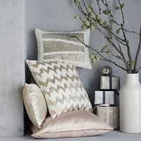 Embroidered Metallic Sequin Stripe Pillow Cover