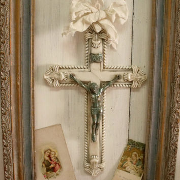 Vintage aged White crucifix verdigris wall decor shabby chic distressed crucifix French chic religious decor