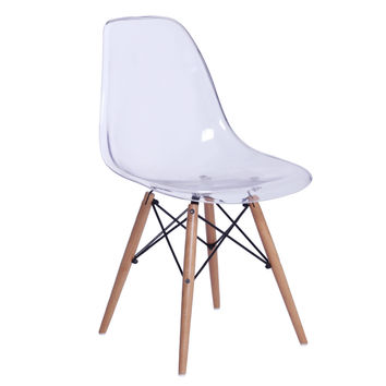 GlossWood Dining Side Chair, Clear