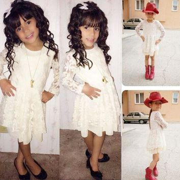 2015 Baby Girls Dress Cute Lace Flower Princess Dresses Kids Toddler Tutu Dress