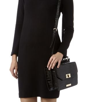 FRANCES LOCK CROC BAG Black Crossbody Bag by Carvela Kurt Geiger | Kurt Geiger