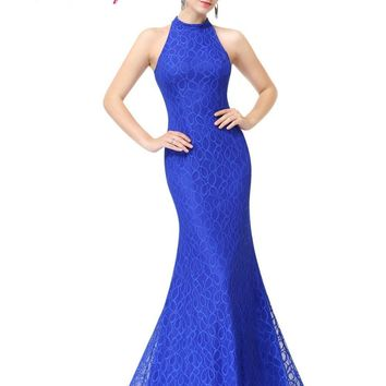 Women's Long Sapphire Blue Prom Dresses Ever Pretty EP08865 Sexy Halter Lace Summer Style Party Dresses Mermaid Prom Dresses