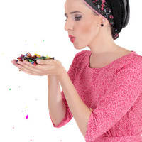 Black head scarf – Head wrap  – Hair snoods – Floral headcovering