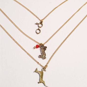 Always necklace with red crystal  Harry Potter quote deer stag glasses lightning bolt charm on gold chain gryffindor necklace
