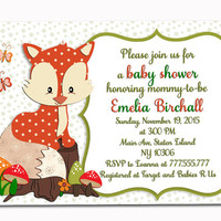 Neutral baby shower invitation for baby boy girl woodland invite orange green fox toddler birthday party printable card DIY digital invite