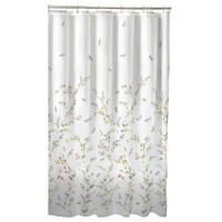 Floral Dragonfly Polyester Machine Washable Shower Curtain