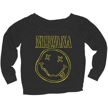 Nirvana Women's  Jr Smiley L/S Pullover Girls Jr Sweatshirt Black