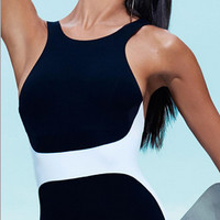 Black And White Patchwork U Back One Piece Swimsuit
