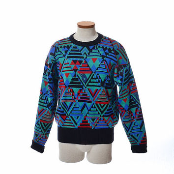 Vintage 80s Meister Geometric Wool Blend Ski Sweater 1980s Hagemeister-Lert Mod Abstract Ski Party New Wave Sweater unisex mens womens