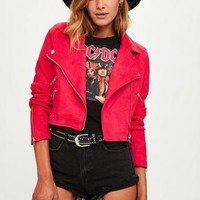 Missguided - Red Faux Suede Crop Biker Jacket