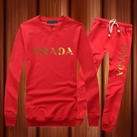 PRADA Casual Long Sleeve Shirt Top Tee Pants Trousers Set Two-Piece Sportswear-2