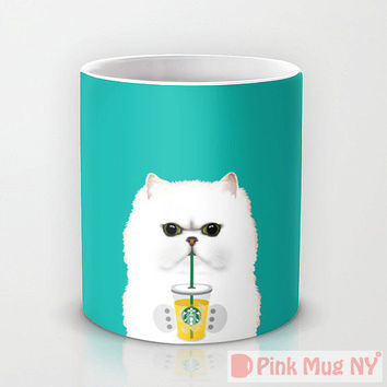 Personalized mug cup designed PinkMugNY - I love Starbucks - Persian Cat