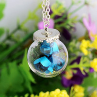 Cute Paper Rose Dried Flower Necklace GlasBottle Pendant Jewelry accessorie4ColorDIY Gift