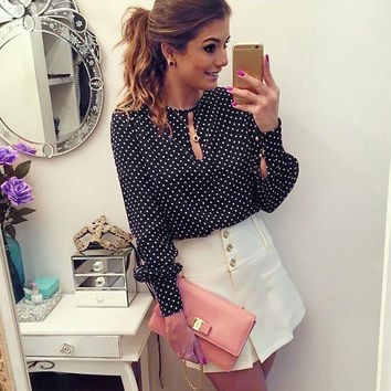 Black And White Dots Printed Long Puff Sleeves Scoop Blouse