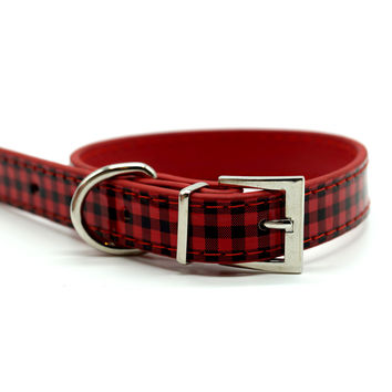 Chelsea Gingham Leather Dog Collar (Red)