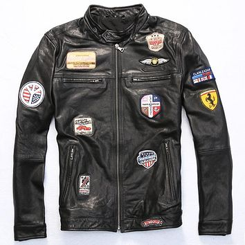 Vintage tranned retro sheepskin coat multi-Badge flight jacket pilot suit unifrom black rock style brown real leather jacket men
