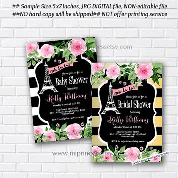 oh lala, Paris Eiffel Tower Invite,Paris Baby Shower Invitation, Bridal shower, Eiffel Tower Invite, Paris Shower Invitation - card 929