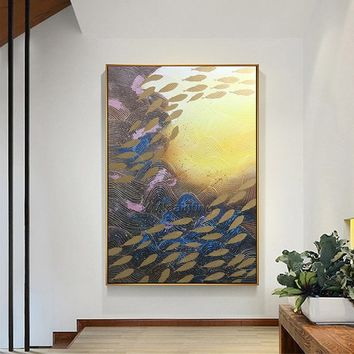 Original yellow and Gold Seascape Mordern Abstract acrylic Ocean fish texture Painting on canvas Wall Art Pictures quadro caudros decoracion