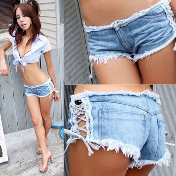 Women Low Waist Blue denim shorts hot pants Worn out Summer Cut off short jeans = 1930123716