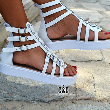 "Women Leather Sandal Gladiator ""wild edition"", strappy sandals, genuine leather, white sandals, Gladiator Sandals, women sandals"