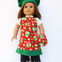 18 Inch Doll Clothes, Reversible Apron, Chef's Hat, 2 Oven Mitts, Owl Print or Polka Dot Apron, Green Chef's Hat