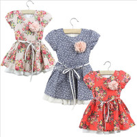 2014 New Kids Floral Dress Children Baby Girl printed rosette 3D flower summer cotton red dresses 6pcs/lot.
