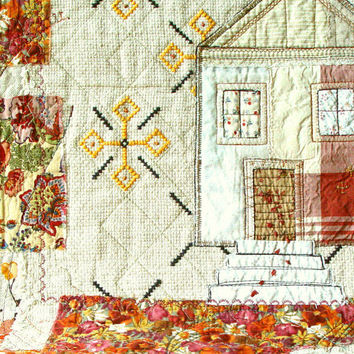 AUTUMN HOME, Art Quilt, Textile Wallhanging, Home Decor, Hand Embroidery, Rustic Cottage, Beaded Applique, Made in Poland, Folk Art