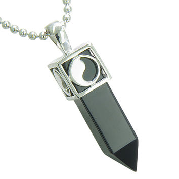 Positive Energy Yin Yang Amulet Crystal Point Lucky Charm Simulated Black Onyx Pendant 22 Inch Necklace
