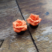 "Orange Rosebud flowers plug,Ear gauges,Real gauges,8,10,12,14,16,18,20,22,24,26,28,30mm;0g,00g;5/16"",3/8"",1/2"",9/16"",5/8"",3/4"",7/8"",1 1/4"""