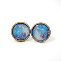 Galaxy Earrings Studs Nebula Stars Planet Space Jewelry Sky Blue Purple Pink Free Shipping