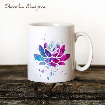 Lotus Yoga Mug Watercolor Ceramic Mug Unique Gift Bird Coffee Mug Animal Mug Tea Cup Art Illustration Cool Kitchen Art Buddha Yoga print
