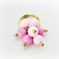 Vintage Pink Lucite Ring, Ball Sphere Cluster Ring, Pink Gold Beaded Ring, Gold Adjustable Ring, 1960s 1970s Retro MOD Jewelry
