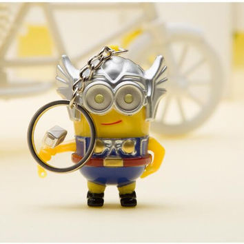 Despicable Me Minions LED Flashlight Keychain Talk Press Button