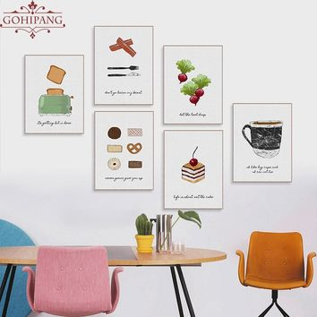 Gohipang Watercolor Food Cake Coffee Fruits Quotes Posters Prints Nordic Style Kitchen Cafe Wall Art Pictures Home Decor Canvas