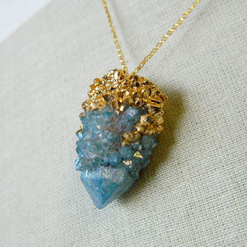 Blue Aqua Hora Quartz Nugget Necklace, Spirit Quartz Pendant, Blue Quartz Pendant, Blue Mineral, Cactus Quartz