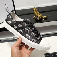GUCCI new full printed logo men's trend lace sports shoes black