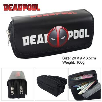 Deadpool Dead pool Taco Super Heroes  Batman Canvas Double Zipper Pencil Bag Anime Pencil Case Kids Gift Stationery Container School Supplies AT_70_6