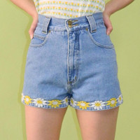 Daisy Denim Shorts Vintage 90s Blue XS