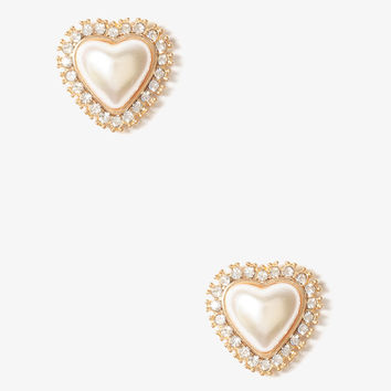 Framed Pearlescent Heart Studs