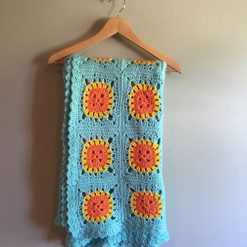 Mid Century Modern Afghan Vintage 60s 70s Granny Square Blue Orange Yellow MCM Blanket Decor Home Crocheted Crochet Hand Made