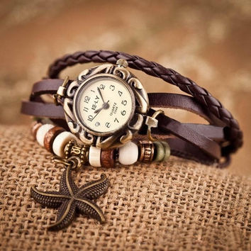 Attractive Woman Girl Vintage Leather Bracelet Starfish Decoration Quartz Wrist Watch = 1932863556