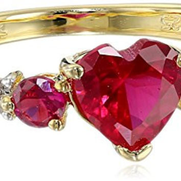 Sterling Silver with Yellow Gold Plating Created Ruby and Diamond Heart Ring (0.02cttw, I-J Color, I2-I3 Clarity), Size 7