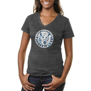 Northwood University of Michigan Timberwolves Ladies Distressed Primary Tri-Blend V-Neck T-Shirt - Charcoal