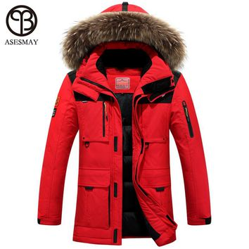 Winter jacket men coat duck down jacket with fur hood  Removable parka men coat masculine jacket Plus Size