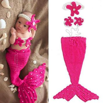 3 Sets Crochet Knit Mermaid Baby Photography Props