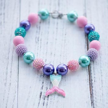 Mermaid Tail Chunky Necklace Pendant Girls Bubblegum Necklace Toddler Necklace Birthday Gift for Kids