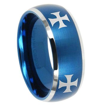 10mm 4 Maltese Cross Dome Brushed Blue 2 Tone Tungsten Men's Engagement Ring