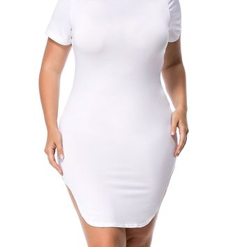 Streetstyle  Casual Crew Neck Curved Hem Solid Plus Size Bodycon Dress