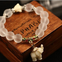 Special offer For Elephant Lovers - Natural matte crystal bracelet fashion super sweet elephant women bracelet - Free Shipping